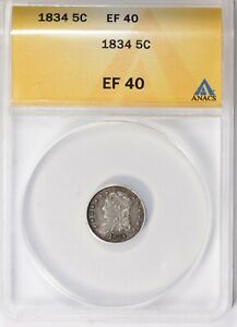 1834 Capped Bust Half Dime ANACS XF-40