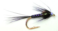CRUNCHER BLACK HOLOGRAPHIC TROUT FISHING FLIES - SIZE 10
