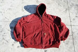 CARHARTT 3XLT  Mens Red Duck Active Hooded Jacket Coat Bomber j130 3xxx tall