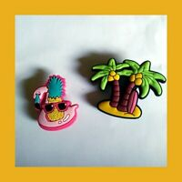 2 Tropical Beach Palm Flamingo Shades Silicone Shoe Charms for Crocs USASeller