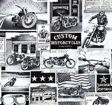 Vintage Motorcycles Patchworkstoffe Stoffe Patchwork Motorrad Motorräder Retro