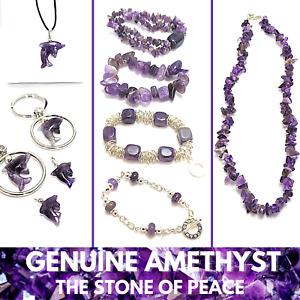 5 pack AMETHYST Genuine Natural Gemstone Bracelets Pendants or Charms NEW!