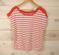 Lucky Brand Women's Sz L T-shirt Orange Ivory Striped Lace Short Sleeve Top