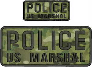 POLICE US MARSHAL EMBROIDERY PATCH 4X10 AND 2X5 HOOK ON BACK MULT/BLK