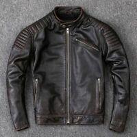 Men's Motorcycle Biker Vintage Distressed Cafe Racer Black Real Leather Jacket