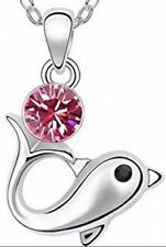 "Sparkling Pink Colored Dolphin Charm Necklace w/ 18"" Chain *BRAND NEW*"