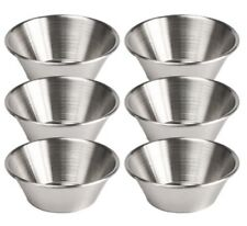Set Of 6 Stainless Steel Ketchup Mustard Sauce Pots Dipping Pots Dip Bowls 1.5oz