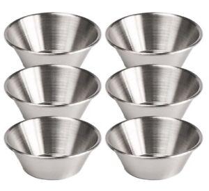 6x Ketchup Mustard Sauce Dipping Pots Stainless Steel Ramekins Dip Bowls 1.5oz