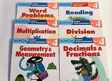 KUMON Workbooks Grade 4 Set: Math + Reading  (6 books) --FREE Shipping