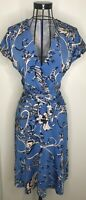 Reiss Sammie patterned floral blue fit and flare tie Dress Extra Small UK 6 8