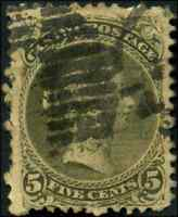 Canada #26 used F 1875 Queen Victoria 5c olive green Large Queen CV$130.00