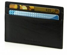 Black 100%  leather men Credit Card Holder Holder Thin compact Cowhide Wallet