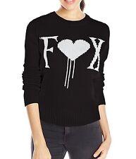 $56 Fox Racing Women's Cold Hearts Black Sweater Logo Jacquard Size L
