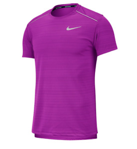 Nike Running Tee Mens Authentic Dry Miler Short Sleeve Vivid Purple Small to XL