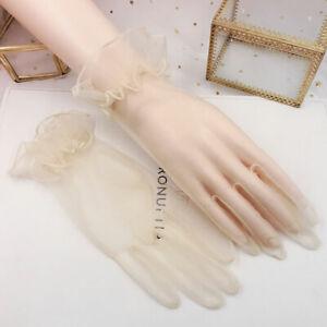 Women Short Tulle Gloves Wedding Lotus Leaf Sheer Lace Full Finger Gloves Mitten