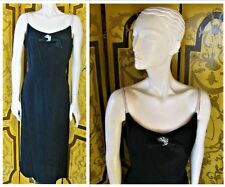 CARLYE Vintage 1940s Fancy Black Dress With Applique Detail SzM