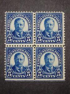 RIV: US MNH 557 Block of Four FRESH 1922 perf 11 Flat Plate Roosevelt mint SE 2V
