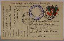 POSTA ALBANIA n°1 CASSA MILITARE CORPO SPECIALE ITALIANO 19.5.1916 #XP501B