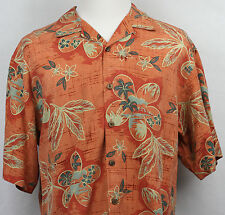 Tommy Bahama Hawaiian orange with leaves flowers palm mountains printed L silk