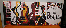 "Beatles Guitars Artist Kludo White ORIGINAL ACRYLIC / CANVAS PAINTING 13.5x33.5"""