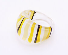 MIXED YELLOW & MONOCHROME LINES PLASTIC BUBBLE RING FOR COLOURFUL STYLING (ZX39)