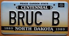 North Dakota 1989 VANITY License Plate BRUCE B