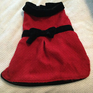 Maggie Waggie Red Velvet Christmas Black Bow Pet Dress sz Medium Preowned