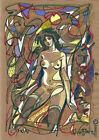 original painting A3 274MG art Surrealism Mixed Media illustration female nude