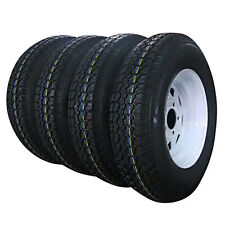 "Set of 4 175/80D13 LRC ET Bias Trailer Tire on 13"" 5 Lug White Spoke Steel Wheel"