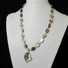 Beau Collier 51cm EN Abalone Coquillage jade et Argent 925