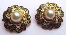 Ancien Bijou vintage rares boucles d'oreilles or de Tolède perles nacrées 3266