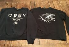 2 (lot) OBEY adult M medium black sweatshirts skateboarding snowboarding posse
