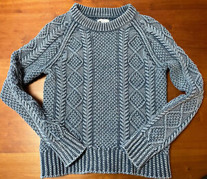 LL Bean Signature Crew Cable Knit Fisherman Womens Sweater Medium Blue