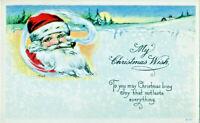 Artist Signed M Dulk~CHRISTMAS WISH~SANTA SMOKES PIPE~FULL MOON~Vintage Postcard