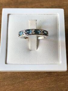 Teal Kyanite & Natural Zircon Half Eternity Sterling Silver Ring Size U