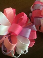 """2 New 3"""" Summer Hair Bow Clip Pom-pom Infant Baby Girl Pastel Colors"""