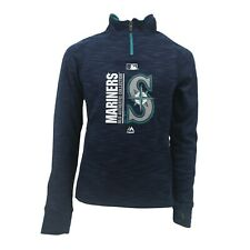 Seattle Mariners MLB Majestic Kids Youth Girls Size Quarter Zip Pull Over New