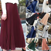 Fashion Women's Casual Solid Pleated Elegant Solid Midi Elastic Waist Maxi Skirt