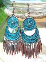 Tibetan Jewellery Bronze Turquoise Gypsy Crescent Moon Dangle Tribal Earrings