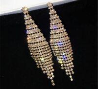 14k Gold GP Dangle Long Chandelier Earrings made w Swarovski Crystal Pave Stone