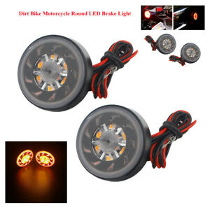 Motorcycle Bike Round LED Brake Stop Lamp Rear Warning Lighting Turn Signal Bulb