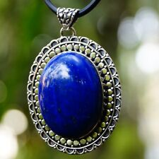 Pendant  Lapis Lazuli Oval gemstone 925 Sterling Silver Handmade UIC346