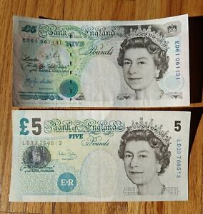 ENGLAND 1990 5 POUNDS LOT OF 2 NOTES