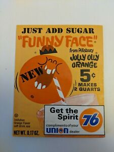Vintage Funny Face Jolly Olly Orange Drink Kool Aid Unopened Sealed 1960s NOS