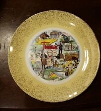 "Vtg 10 1/4"" Tennessee Souvenir Collectors Plate Gold Trim Jackson Johnson & Polk"