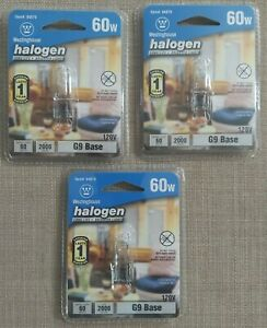 Lot of 3 Westinghouse 60w G9 Base Decorative Halogen Bulbs - Brand New Sealed