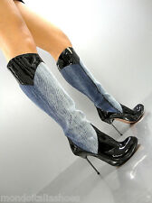 MORI ITALY HOT KNEE HEELS BOOTS STIEFEL STIVALI BLUE JEANS LEATHER BLACK NERO 41