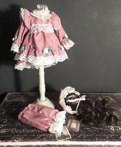 """Antique REPRODUCTION Style 10"""" DRESS Bonnet PANTALOONS for BISQUE & ARTIST DOLLS"""