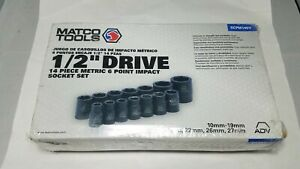 "New Matco 14 Piece 1/2"" Drive Metric 6 Point Impact Socket Set SCPM146V"