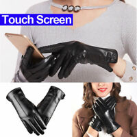 Fashion Women Winter Warm Soft PU Leather Gloves Windproof Touch Screen Mittens